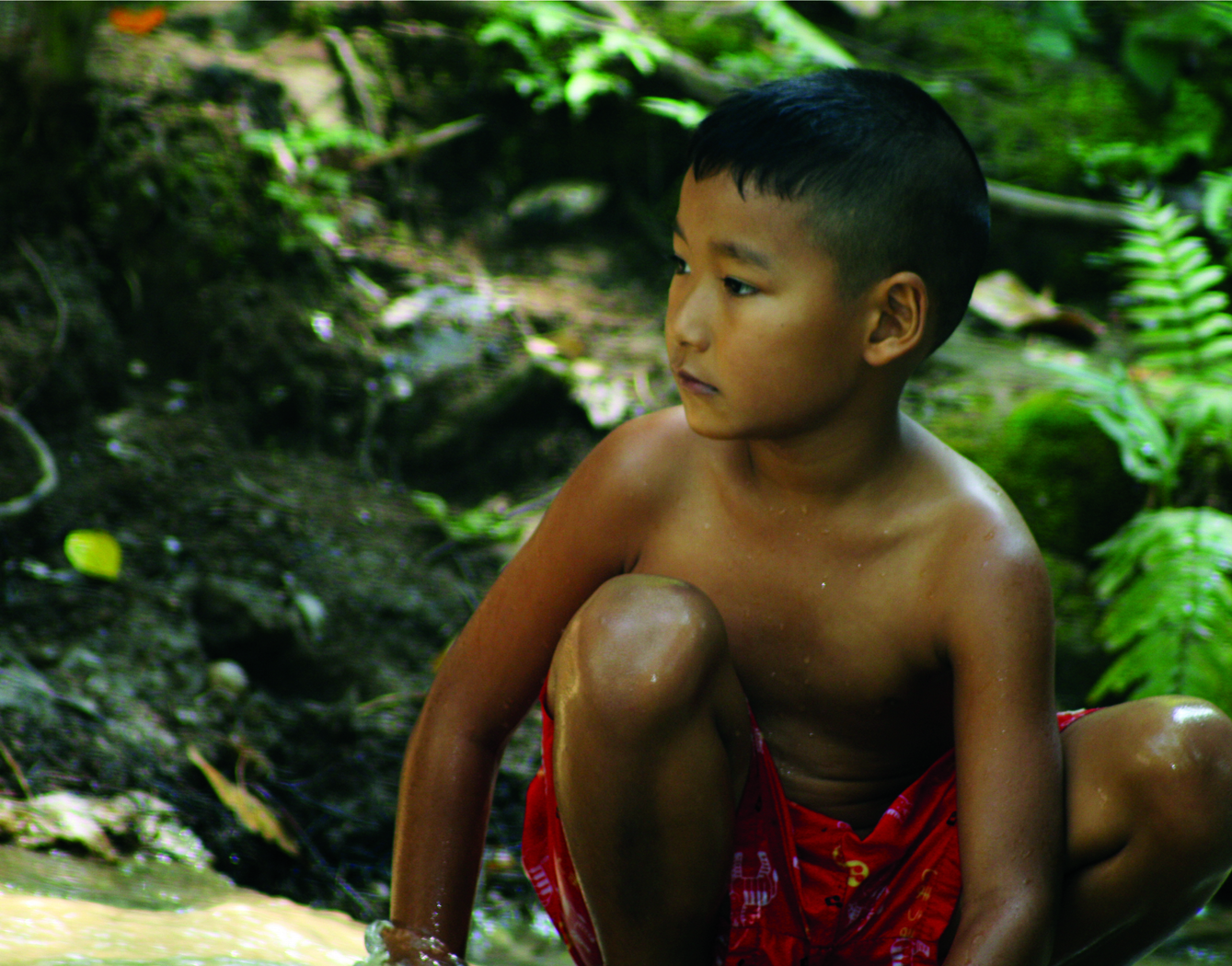 Thai boy at the waterfall